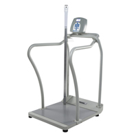 HealthOMeter 2101KLHR Digital Platform Scale w/ Handrails & Height Rod