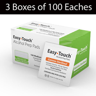 MHC 802711 EasyTouch Alcohol Prep Pads-3 Boxes of 100